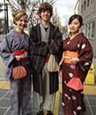 Strolling in the castle town in Kimono